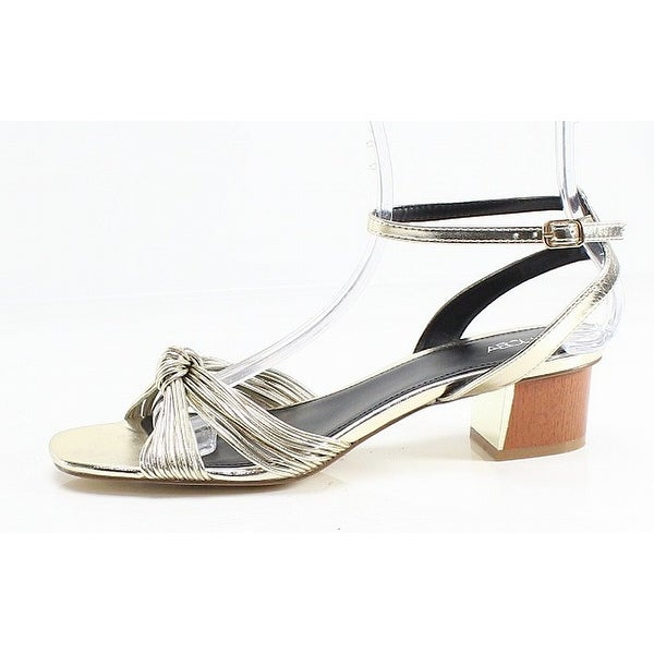 a2dd8570560d Shop Abound NEW Gold Pleather Open Toe Women s 9.5M Ankle Strap Heel Sandal  - Free Shipping On Orders Over  45 - Overstock - 21870109