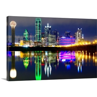 """""""Downtown Dallas skyline reflections in the Trinity River"""" Canvas Wall Art"""