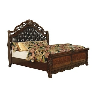 Bacho Dark Burl and Dark Brown Sleigh Bed with Button-tufted Headboard (Queen) -  Overstock