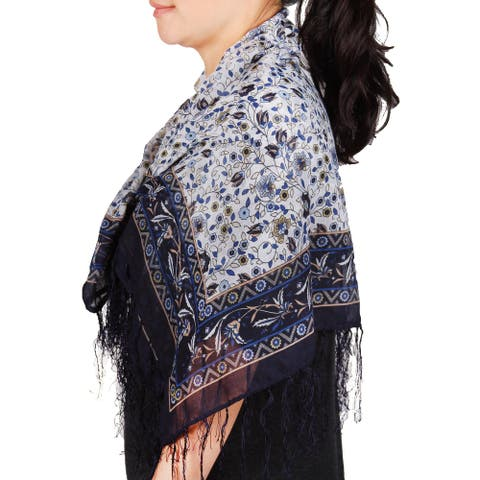 Richie House Women's Blue-themed Scarf with Flowers and Micro-tassels - Blue - Standard