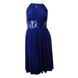 R&M Richards Women's Sequin-Waist Keyhole Halter Jersey Dress - Navy