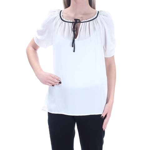 JOIE Womens Ivory Short Sleeve Keyhole Top Size: M