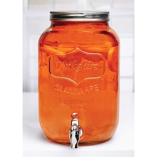 Palais Glassware Mason Jar Beverage Dispenser - Traditional Tin Screw Off Lid - 2 Gallon Capacity