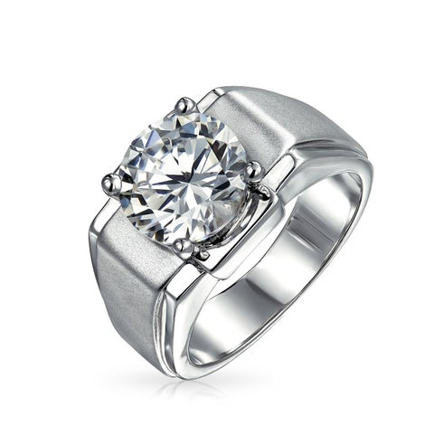 Bling Jewelry Mens 6 ct CZ Round Solitaire Engagement Ring Rhodium Plated