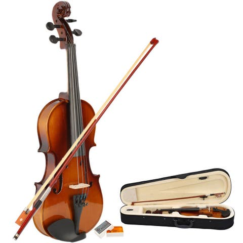 New 1/2 Acoustic Violin, Case, Bow, Rosin Natural