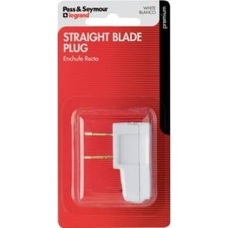 Pass & Seymour Straight Blade Plug, 15A, 125V, White