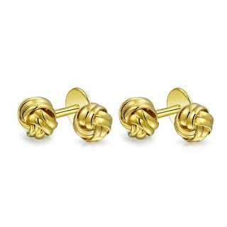 Bling Jewelry Classic Gold Plated Sterling Silver Single Woven Love Knot Shirt Studs Set