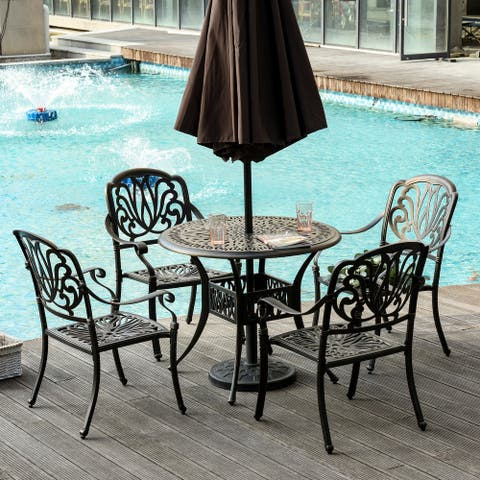 Outsunny 5-Piece Outdoor Patio Dining Set with 4 Armchairs & 1 Table, featuring Intricate Scrollwork & an Umbrella Hole