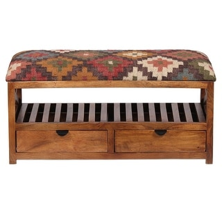 "Link to Handmade Kilim Upholstered Wooden Storage Bench (India) - 33"" W x 14"" L x 16"" H Similar Items in Living Room Furniture"