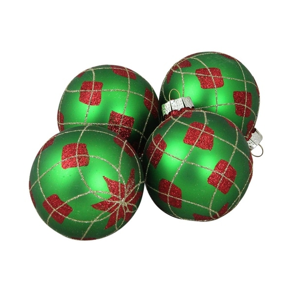 """4-Piece Green, Red and Gold Decorative Diamond and Star Christmas Ornament Set 4"""" (80mm) - green"""