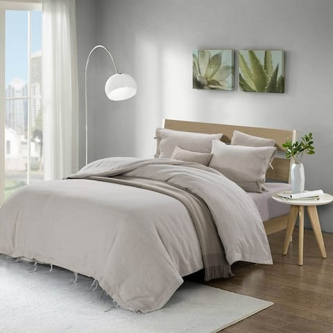 Stone Washed Linen Duvet Cover Set-Bow Ties