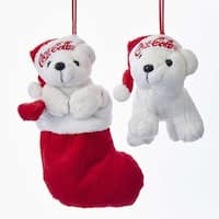 Club Pack of 12 Bright Red and White Standing/Stocking Bear Ornaments 7""