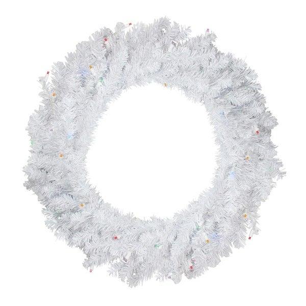 "24"" Pre-Lit Snow White Artificial Christmas Wreath - Multi-Color LED Lights"