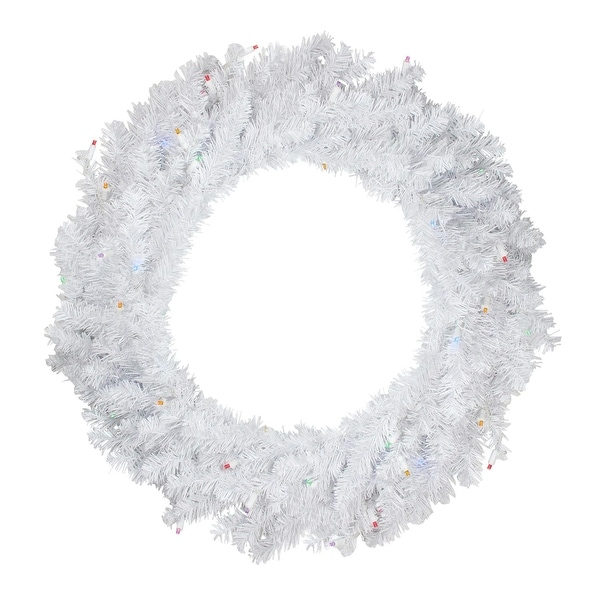 "30"" Battery Operated Pre-Lit LED Snow White Christmas Wreath - Multi Lights"