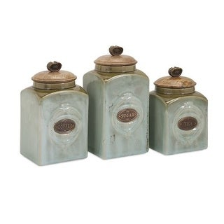 IMAX Home 73327-3 Addison Ceramic Canisters - Set of 3