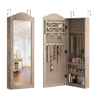 Gymax Jewelry Cabinet Wall/Door Mounted Rustic Jewelry Armoire