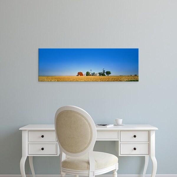 Easy Art Prints Panoramic Images's 'Farm against clear sky, Illinois, USA' Premium Canvas Art