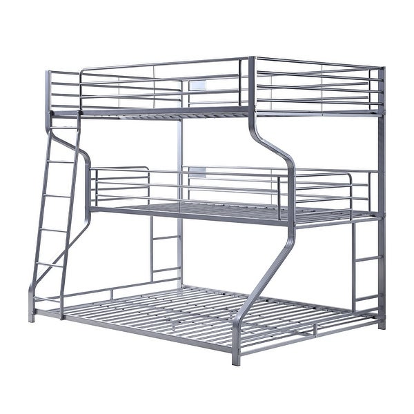 Industrial 3 Tier Bunk Bed with Curved Metal Frame and Guardrails, Silver. Opens flyout.