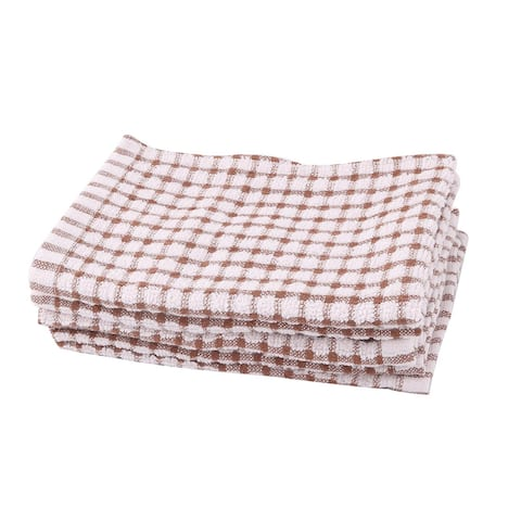 Home Kitchen Cotton Blends Dish Bowl Pot Cleaning Towels Pink Coffee Color 6pcs