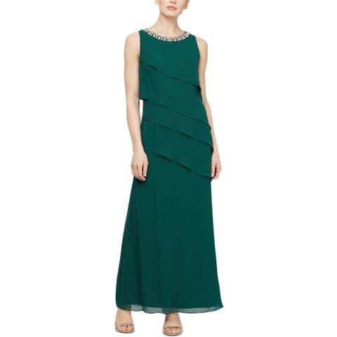 SLNY Womens Evening Dress Tiered Halter - Hunter Green