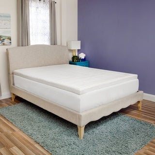 SwissLux Euro Extraordinaire 3-inch Memory Foam Quilted Mattress Topper - White