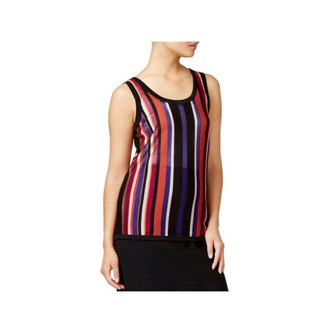 Anne Klein Womens Tank Top Sweater Striped U-Neck