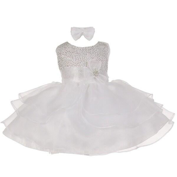 Baby Girls White Rhinestuds Bow Sash Flower Girl Headband Dress 3-24M