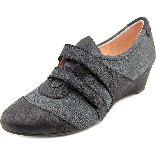 Taryn Rose Pople Women Open Toe Canvas Gray Wedge Heel