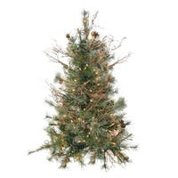 "3' x 28"" Pre-Lit Country Mixed Pine Artificial Christmas Wall or Door Tree - Clear Lights - green"