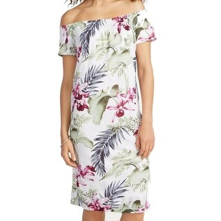 Tommy Bahama NEW White Womens Small S Floral Off Shoulder Shift Dress