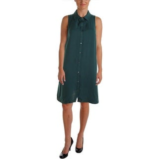 Three Dots Womens Sleeveless Button Down Casual Dress