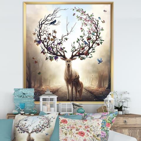 Designart 'Deer With Blossoming Antlers' Cottage Framed Art Print