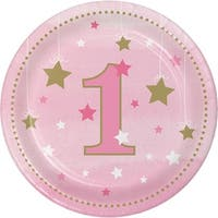 """Club Pack of 96 Pink and Gold One Little Star Girl Luncheon Plates 6.8"""""""