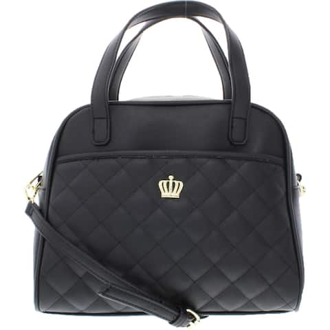Juicy Couture Crown Royal Women's Faux Leather Quilted Embellished Convertible Satchel Handbag - Medium