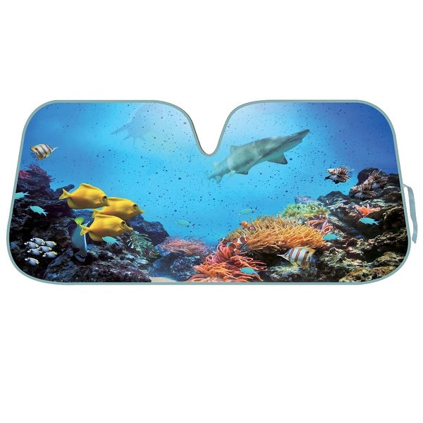 KM WORLD Licensed UNDER THE SEA Auto Shade Cool Trending Fish Pet Designs Sunshade with Reversible Silver Backing