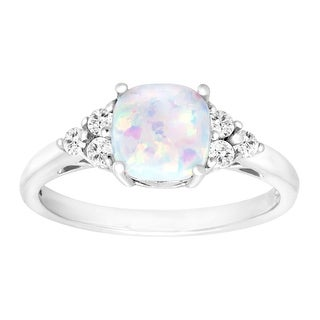 5/8 ct Opal & White Topaz Ring in Sterling Silver