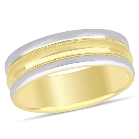 Miadora Ladies Textured omfort Fit Wedding Band in 2-Tone 10k Yellow and White Gold (6mm)