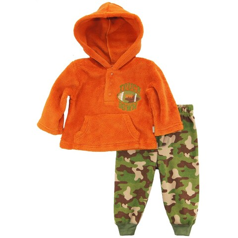 Duck Goose Baby Boys Football Sherpa Hoodie Camo Microfleece Pant Outfit Set