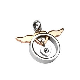 Stainless Steel Copper Tone Angel Wing Heart with Heart CZ Loop Pendant (Sold Ind.) (28 mm Width)