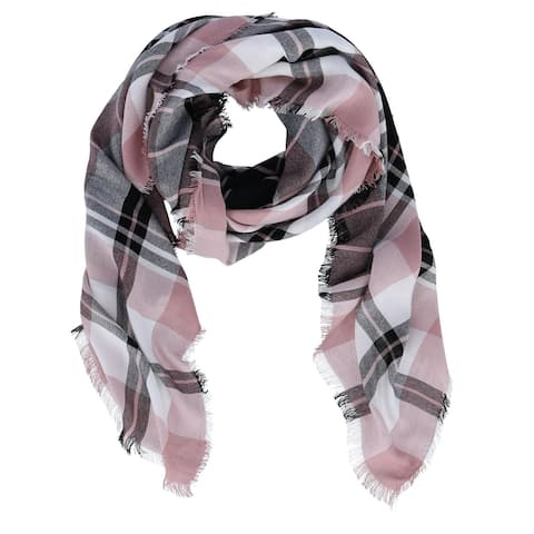 David & Young Women's Plaid Square Scarf with Fringe - one size