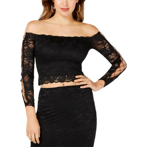 Guess Womens Crop Top Lace Cut-Out - Black - S