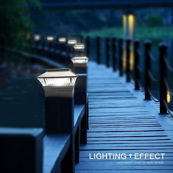 6 Plastic Solar Black Square Post Cap LED Fence Mount 5x5 Garden Outdoor Light