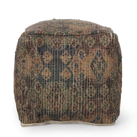 Medway Traditional Handcrafted Multi-color Chindi Cube Pouf