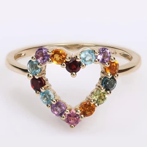 Miadora Multi-Color Gemstone Open Heart Ring in 10k Yellow Gold