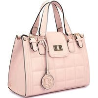 Dasein Stylish Quilted Leather Satchel with Buckled Details