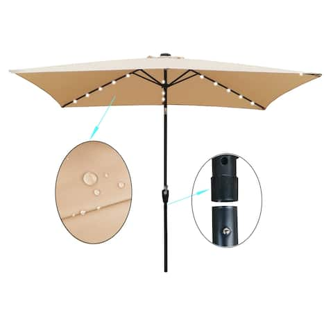 Nestfair Rectangular Patio Solar LED Lighted Outdoor Market Umbrellas
