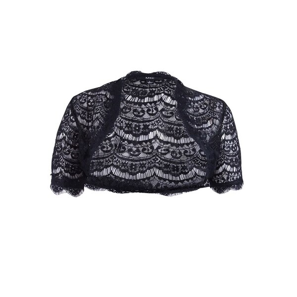 aef33b9f496 MSK Women's Scalloped Lace Bolero Jacket - Black - L