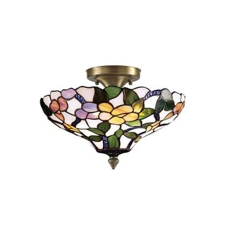 Dale Tiffany 7966/3LTF Victorian Peony Semi-Flush Fixture with Art Glass Shade