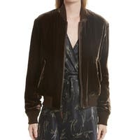 Vince Brown Women's Size Small S Bomber Velvet Full-Zip Jacket