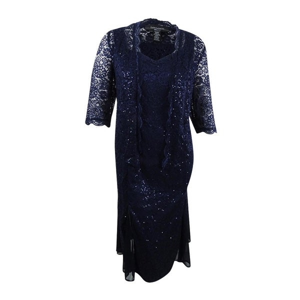 36fda181 Shop R&M Richards Women's Plus Size Sequined Lace Dress & Jacket ...